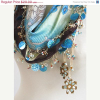 Traditional Brown- Blue Colorful Turkish oya scarf .authentic, romantic, elegant, fashion