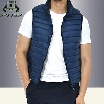 Afs Jeep 2017 Autumn Vest Men Men's Down Parka Sleeveless Jacket Casual Military Waistcoat Lightweight Warm chaquetas hombre