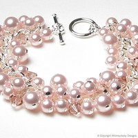 Rose Chiffon Swarovski Pearl & Crystal Charm by whimsydaisydesigns