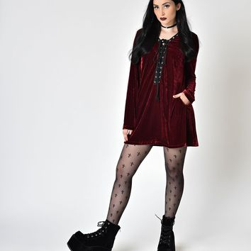 Blood Red Velvet Long Sleeve Lace Up Flare Dress