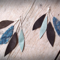 Earthshine Earrings: Suede & Lace Leaf Shape Dangle Earrings. Upcycled. Blue/ Brown/ Silver.