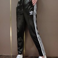 """""""Adidas"""" Fashion Casual Embroidery Leather Clover Letter Stripe Unisex Sweatpants Couple Leisure Pants Trousers"""