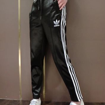 """Adidas"" Fashion Casual Embroidery Leather Clover Letter Stripe Unisex Sweatpants Couple Leisure Pants Trousers"