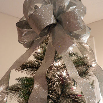 Large Silver Glitter  Christmas Tree topper bow