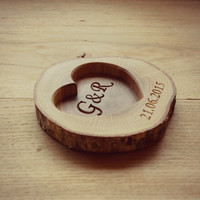 Personalized Wood Ring Holder, Rustic Wedding Ring Bearer Pillow, Oak Tree Ring Box, Personalized Oak Slice