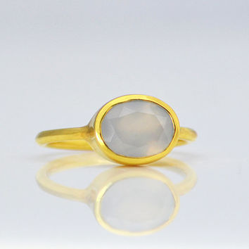 Grey Chalcedony ring - Vermeil Gold ring - oval ring, stacking ring, bezel set ring, sterling silver ring, gemstone ring, chalcedony jewelry