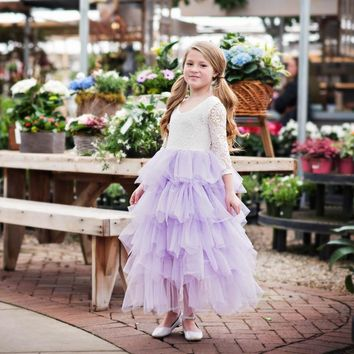 Blanche Gown 3/4 Sleeve White Scalloped Lace Lavender Purple Tier Tulle Tutu Dress - Toddler & Girls