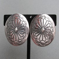 Vintage Native American Navajo Signed Ben Shiley Sterling Silver Concho Earrings