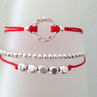 Triple Silver Friendship Bracelet with Adjustable Cord in Red