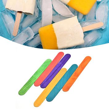 50Pcs/Lot Wood Popsicle Colorful Ice Cream Stick Spoon Lolly Cake Holder Making Sticks Holder Hand Crafts Art Tool For Kids Toys