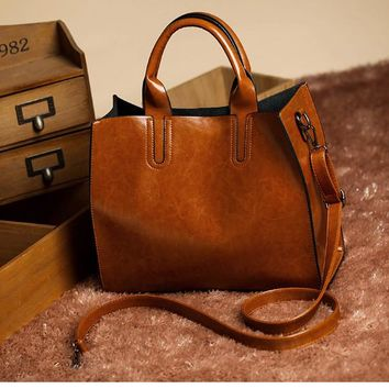 Leather Bag Trunk Tote