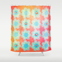 Blue and Green Jelly with Cherries on top Shower Curtain by RunnyCustard Illustration