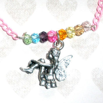 GIRLS FAIRY CHARM Necklace, Girl's Charm Necklace, Pink Chain Fairy Necklace, Bunny, Rocking Horse, Heart, Horse, Kitty Cat, Puppy Dog