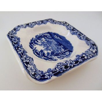 Blue Transferware Masons Vista Square Ashtray Coaster or Spoon Rest