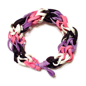Girls Bracelet - Purple, Pink, Black, and White Rubber Band Bracelet - Perfect Gift for Girls and Women