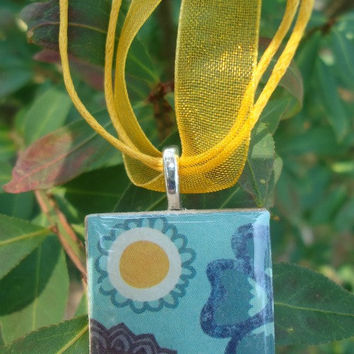 Bright Blue with Sun & Flower, Unique Tile Pendant Necklace