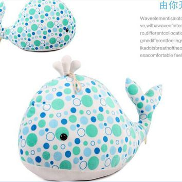 lovely stuff dolphin toy green spots dolphin doll high quality whale doll birthday gift toy about 60cm