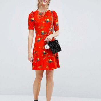ASOS Mini Tea Dress With Ruched Shoulders In Bird Print at asos.com