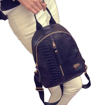 Naivety New Women PU Leather Backpack Travel Shoulder Bag Serpentine Pattern Purse Mochila 10S61102 drop shipping