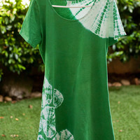 Shibori Emerald Green A-Line Summer Dress, Shibori Dyed - Green Shibori Dyed - A-line Cotton dress- circles - LARGE