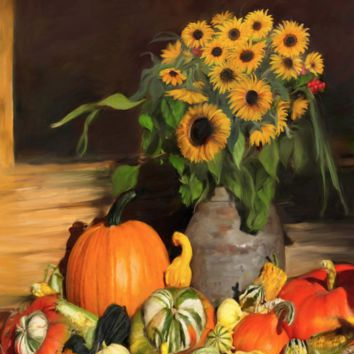 Bountiful Harvest - Floral - Fabric Poster Print 274