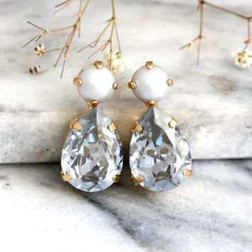 Dusty Blue Earrings, Bridal Dusty Blue Earrings, Bridesmaids Earrings, Dusty Blue Pearl Earrings, Dusty Blue Swarovski Crystal Stud Earrings