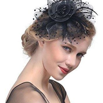 Obosoyo Penny Mesh Hat Fascinator Cocktail Tea Party Kentucky Derby Hat Bridal Party Wedding Headwear for Girls and Women