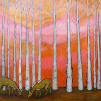Giclee Art Print - Pink Forest with Deer and Trees - Magical Forest