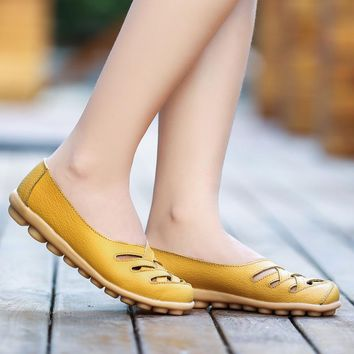 Women Flats Genuine Leather Shoes Breathable Oxford Shoes Women Loafers Falts Shoes Woman Casual Summer Female Shoes Ballet