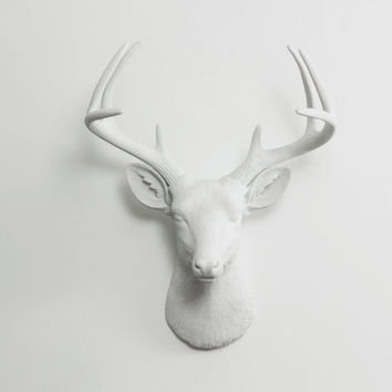 The Virginia Large White Faux Taxidermy Resin Deer Head Wall Mount | White Stag w/ Colored Antlers
