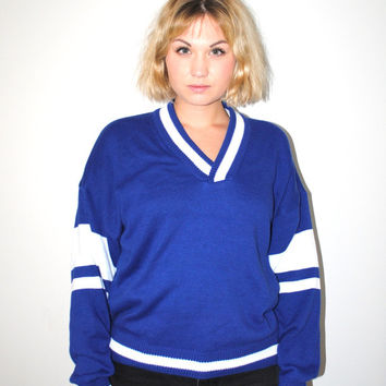 80s v neck athletic sweater 1980s vintage blue + white pull over unisex school jumper medium
