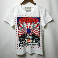 """Gucci"" Women Casual Fashion Pattern Letter Print Short Sleeve T-shirt Top Tee"