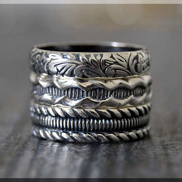 Set of 3 Sterling Silver Stacking Rings, Textured Stacking Rings, Stackable Sterling Silver Rings, Floral Ring, Rope Texture Ring, Ring Set
