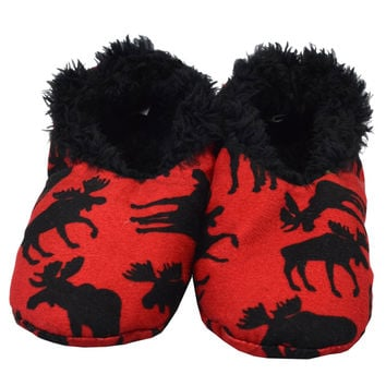 Classic Moose Fuzzy Feet Kids Slippers