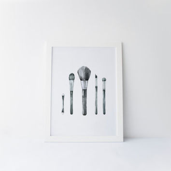 Makeup Brushes, Makeup Brushes Print, Makeup, Beauty Room, Vanity Decor, Bathroom Wall Art, Bathroom Decor, Chic Art, Printable Makeup Art
