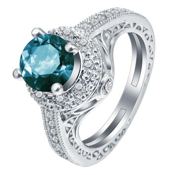 wedding ring vintage cubic zirconia silver plated Elegant Blue Round Stone Women Rings Simple Design Engagement Rings