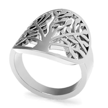 SZ 5-11 Stainless Steel Leaf Tree of Life Ring Mother's Day Daughter Birthday Anniversary Statement Cocktail Party Children Girl