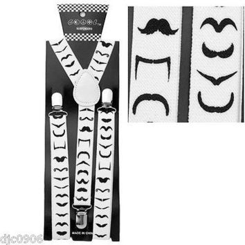Reverse Direction White Mustaches Adjustable Suspenders-Mustache Suspenders-New