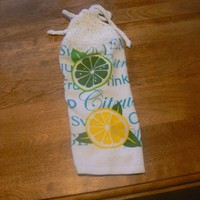 Lemon Lime Citrus Hanging Dish Towel With Hand Knit Topper and Ties