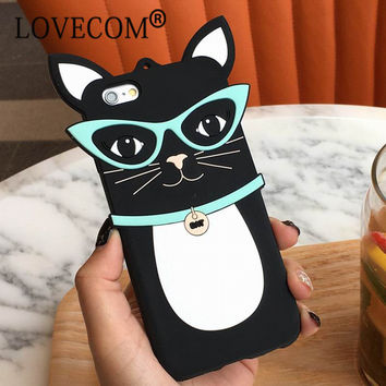 OPAL FERRIE - Cartoon Sunglassess Black Cat Soft Silicon Phone Case For iPhone