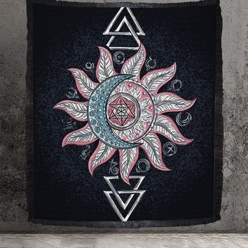 Woven Tapestry Sun and Moon Alchemy Cotton Wall Hanging or Blanket Meditation Yoga Grunge Hippie