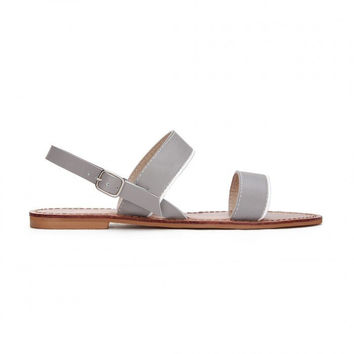 Gray Leather Cross Strap Flat Sandals with Adjustable Buckle
