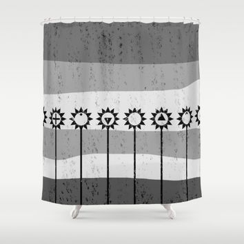 Tall Poppies Geometric Shower Curtain by Textart