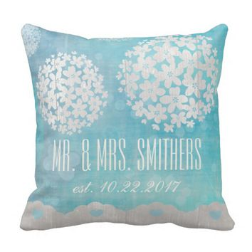 Custom Wedding Day Floral Throw Pillow