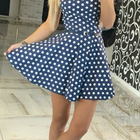 Polka Dots Print Strappy Belt Pleated Dress 10036