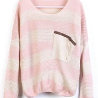 Pink Stripes Loose Sweater with Pocket - Sheinside.com