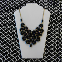 Daisy Bubble Bib Style Necklace - Black