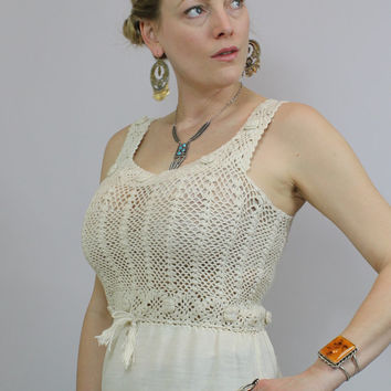 Vintage - Boho - Ivory Cream - Open Knit -  Crochet - Fitted - Drawstring Tassel Waist - Long Cotton Tank Top Blouse