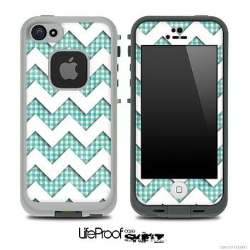 Vintage Green Plaid and White Chevron Pattern Skin for the iPhone 5 or 4/4s LifeProof Case