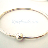 "7"" solid 925 Sterling silver Charm Bangle Bracelet screw ball clasp cape cod bracelet"